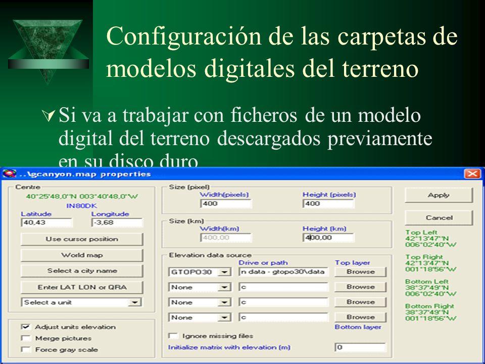 Configuración de las carpetas de modelos digitales del terreno