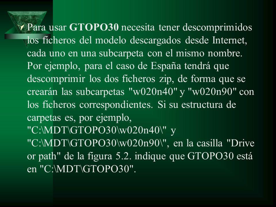 Para usar GTOPO30 necesita tener descomprimidos los ficheros del modelo descargados desde Internet, cada uno en una subcarpeta con el mismo nombre.