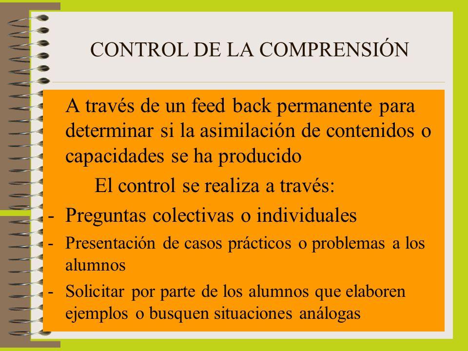 CONTROL DE LA COMPRENSIÓN