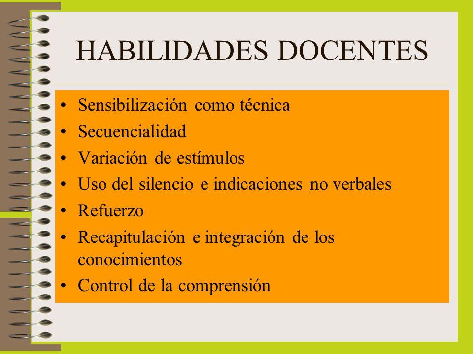 HABILIDADES DOCENTES Sensibilización como técnica Secuencialidad