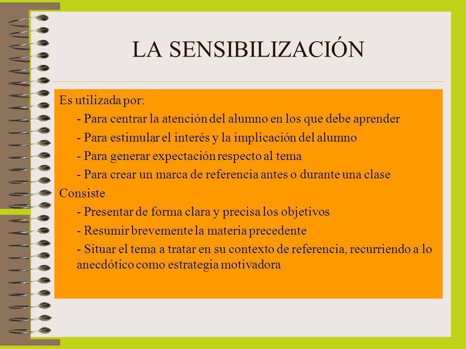 LA SENSIBILIZACIÓN Es utilizada por: