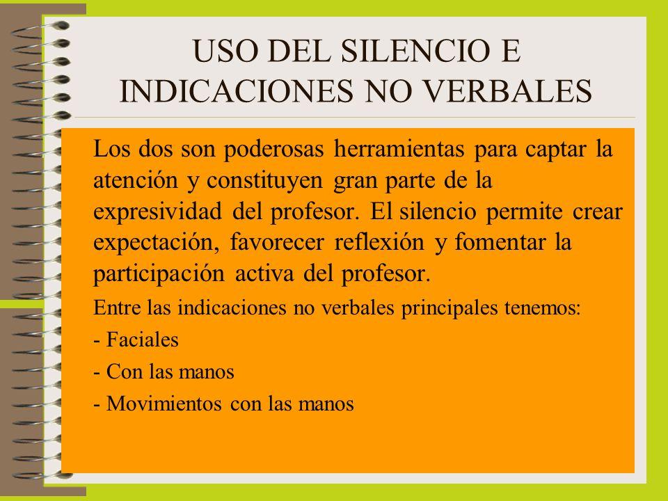 USO DEL SILENCIO E INDICACIONES NO VERBALES