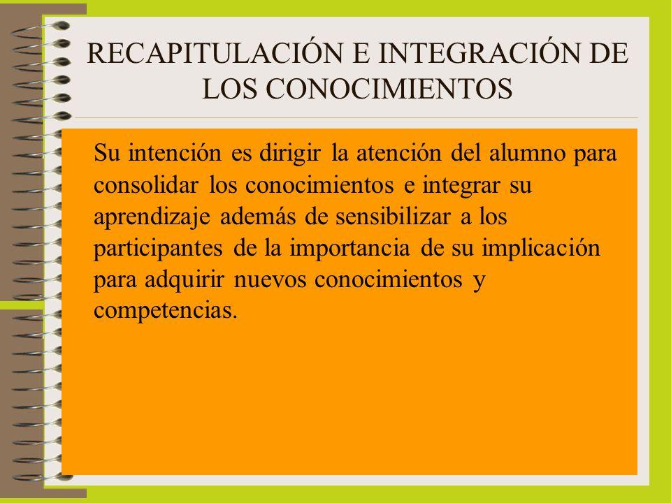 RECAPITULACIÓN E INTEGRACIÓN DE LOS CONOCIMIENTOS