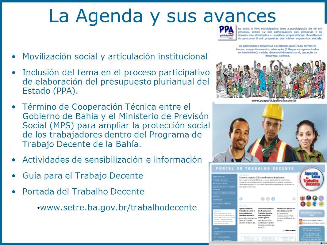 La Agenda y sus avances Movilización social y articulación institucional.