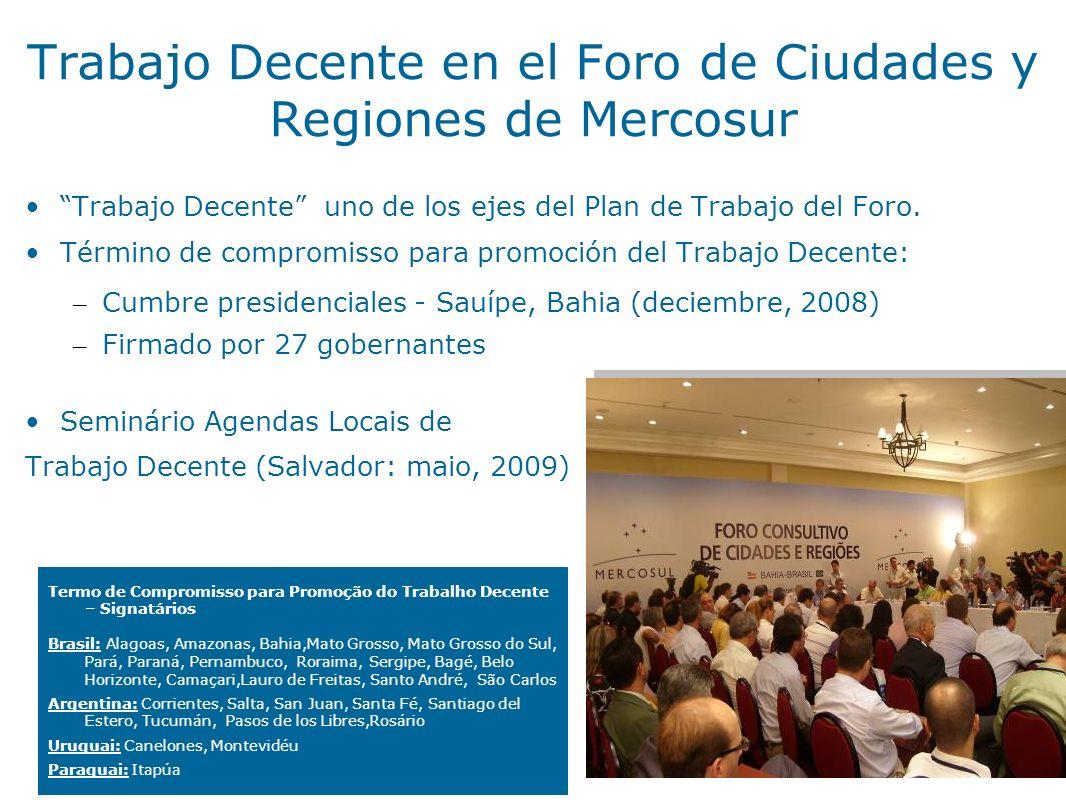 Trabajo Decente en el Foro de Ciudades y Regiones de Mercosur