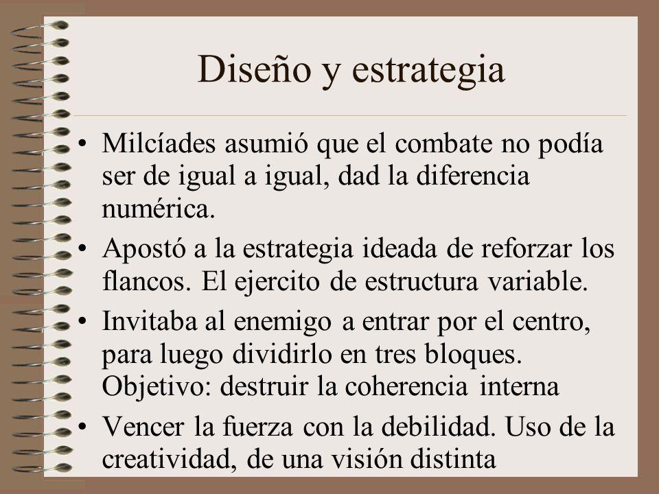 Diseño y estrategia Milcíades asumió que el combate no podía ser de igual a igual, dad la diferencia numérica.
