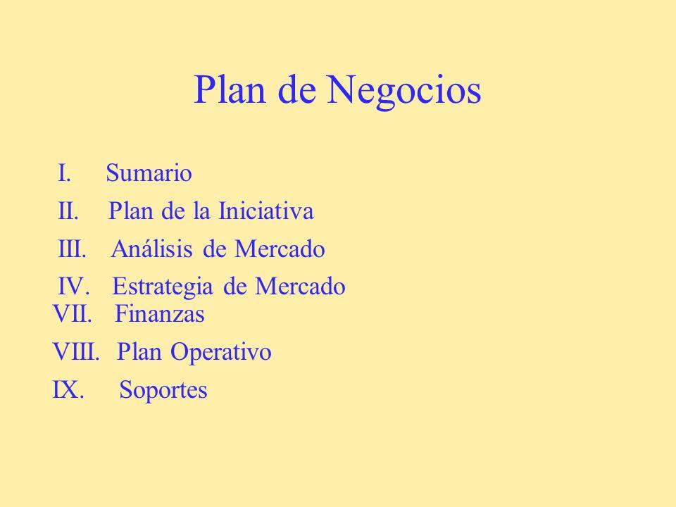 Plan de Negocios I. Sumario II. Plan de la Iniciativa