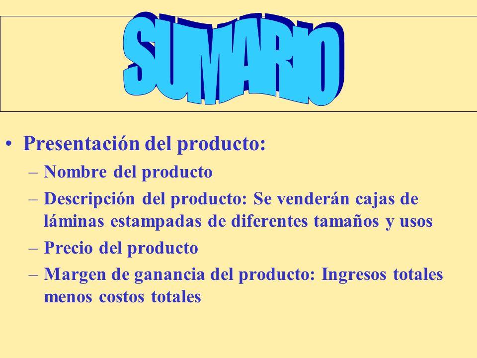 SUMARIO Presentación del producto: Nombre del producto