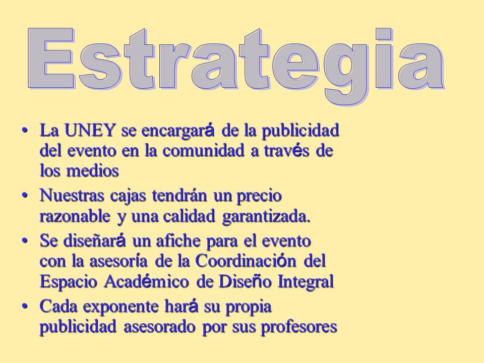 Estrategia La UNEY se encargará de la publicidad del evento en la comunidad a través de los medios.