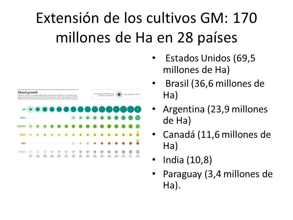 Extensión de los cultivos GM: 170 millones de Ha en 28 países