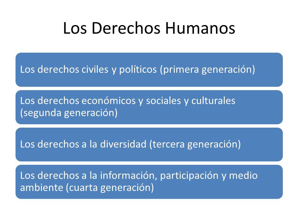 Los Derechos Humanos Los derechos civiles y políticos (primera generación) Los derechos económicos y sociales y culturales (segunda generación)