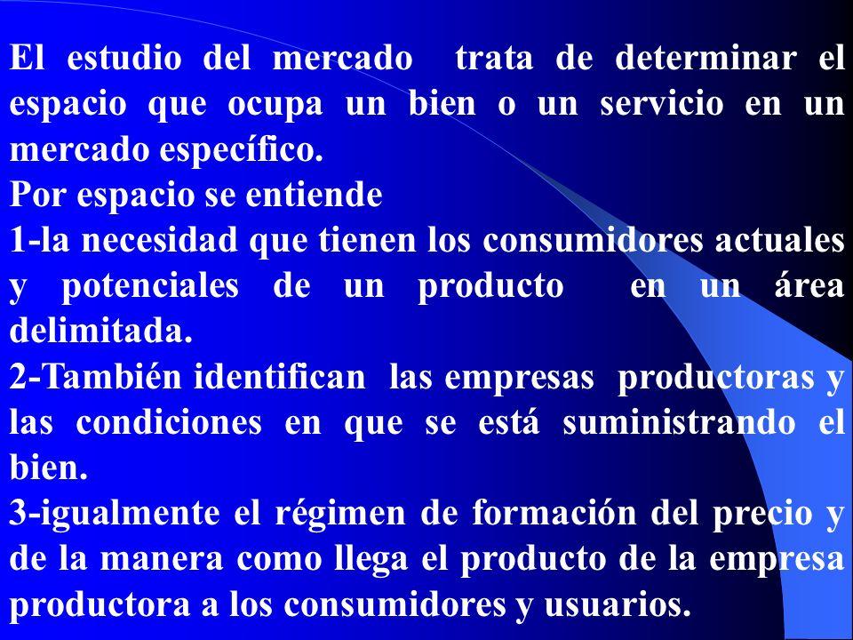 El estudio del mercado trata de determinar el espacio que ocupa un bien o un servicio en un mercado específico.