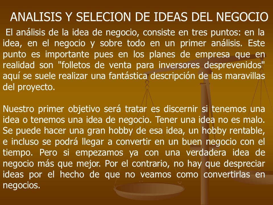 ANALISIS Y SELECION DE IDEAS DEL NEGOCIO
