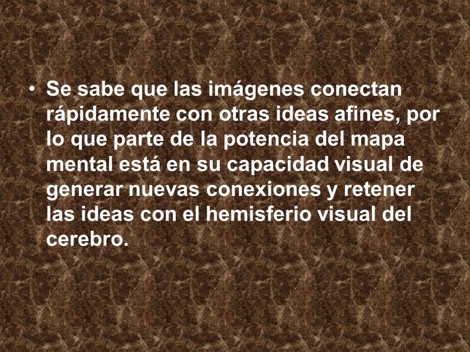 Se sabe que las imágenes conectan rápidamente con otras ideas afines, por lo que parte de la potencia del mapa mental está en su capacidad visual de generar nuevas conexiones y retener las ideas con el hemisferio visual del cerebro.