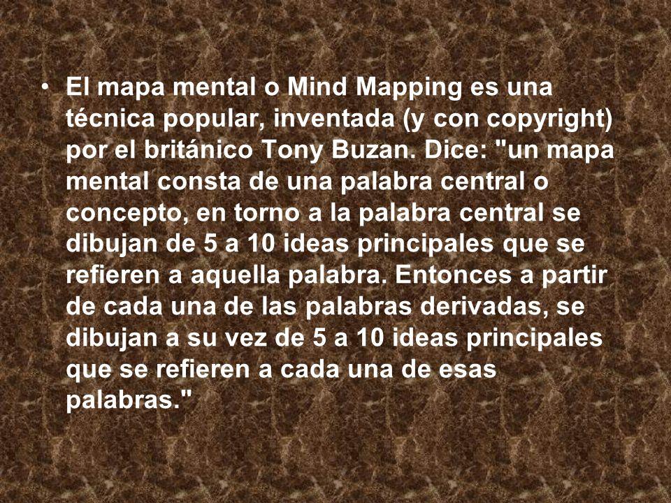 El mapa mental o Mind Mapping es una técnica popular, inventada (y con copyright) por el británico Tony Buzan.