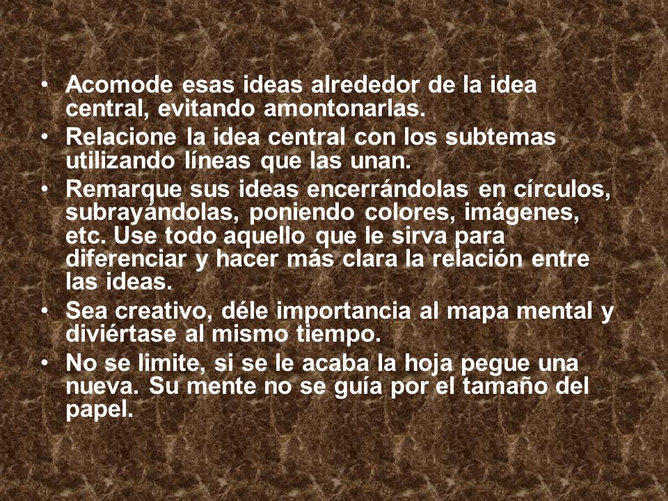 Acomode esas ideas alrededor de la idea central, evitando amontonarlas.