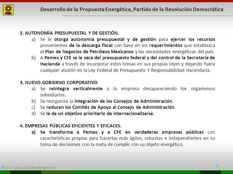 Desarrollo de la Propuesta Energética, Partido de la Revolución Democrática