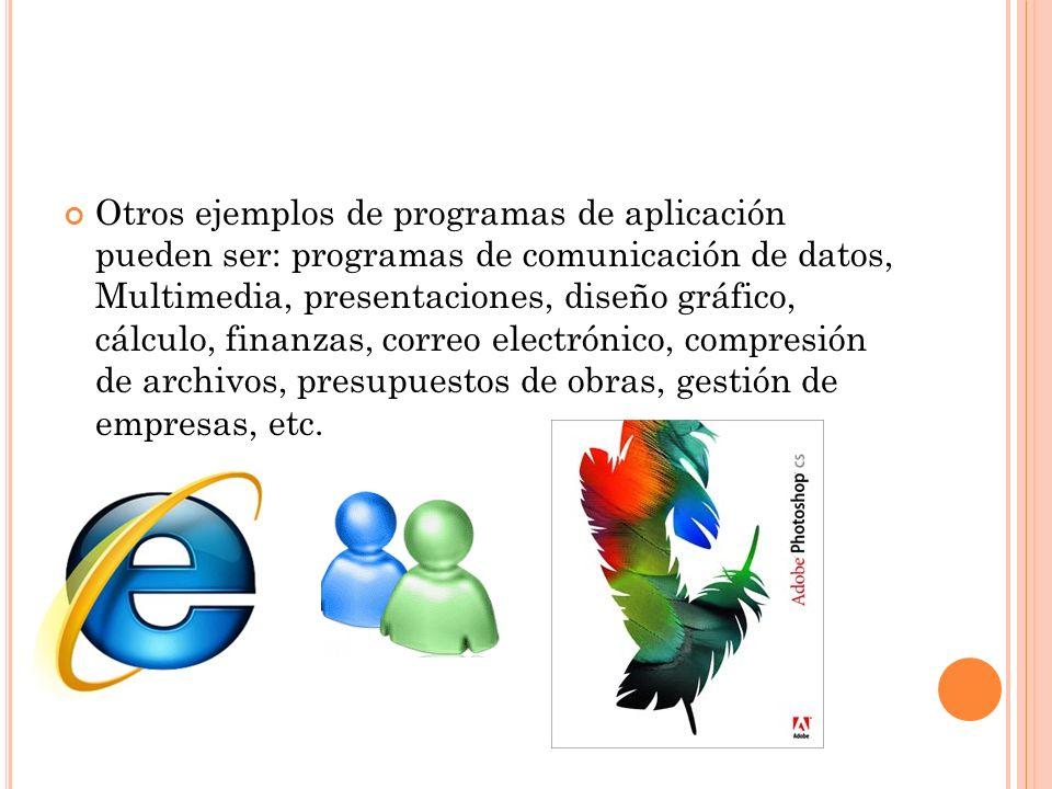 Otros ejemplos de programas de aplicación pueden ser: programas de comunicación de datos, Multimedia, presentaciones, diseño gráfico, cálculo, finanzas, correo electrónico, compresión de archivos, presupuestos de obras, gestión de empresas, etc.