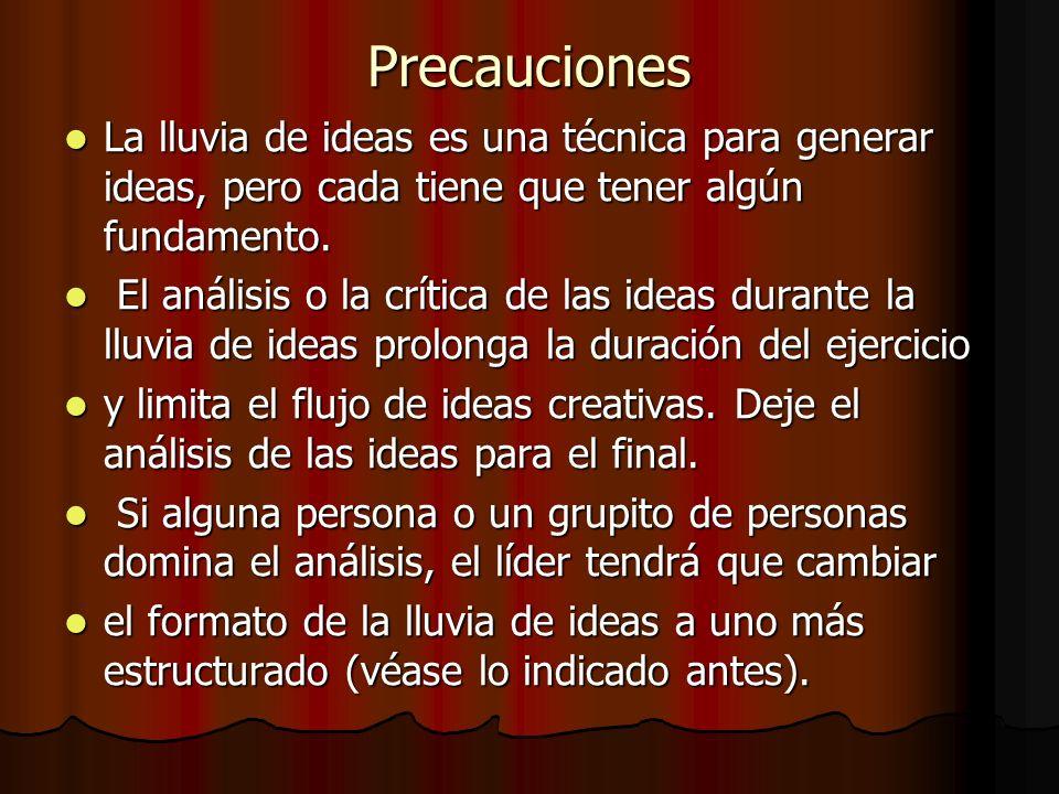 Precauciones La lluvia de ideas es una técnica para generar ideas, pero cada tiene que tener algún fundamento.