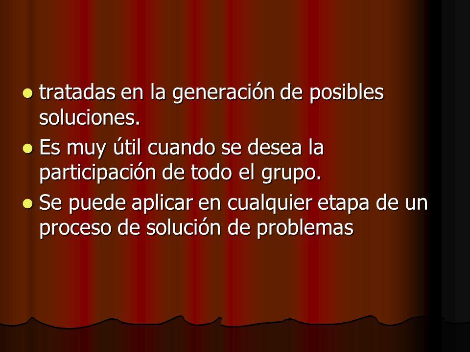 tratadas en la generación de posibles soluciones.