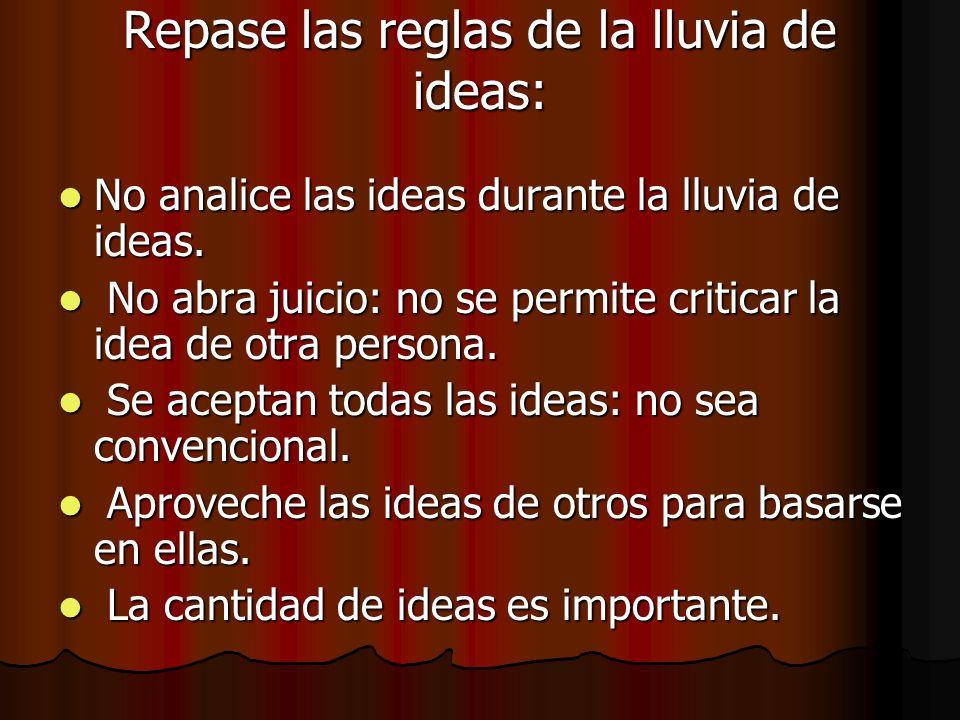 Repase las reglas de la lluvia de ideas:
