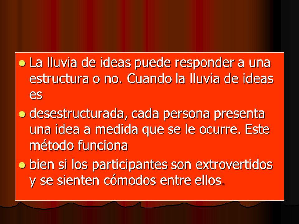 La lluvia de ideas puede responder a una estructura o no