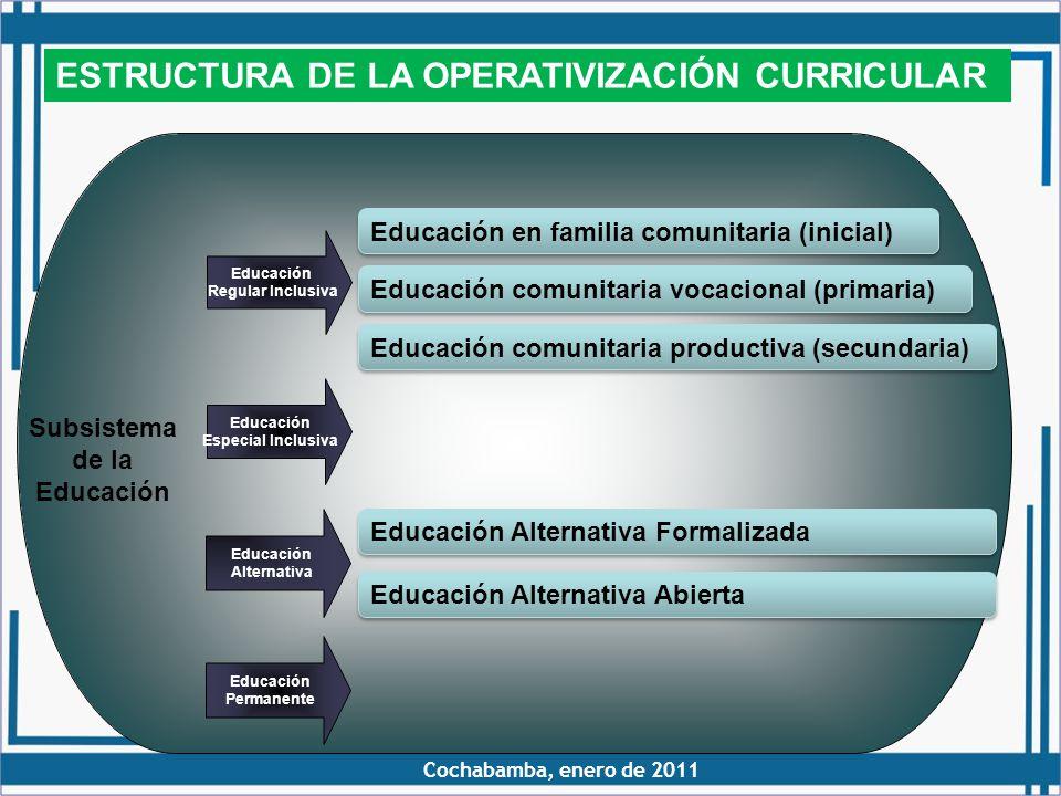 ESTRUCTURA DE LA OPERATIVIZACIÓN CURRICULAR