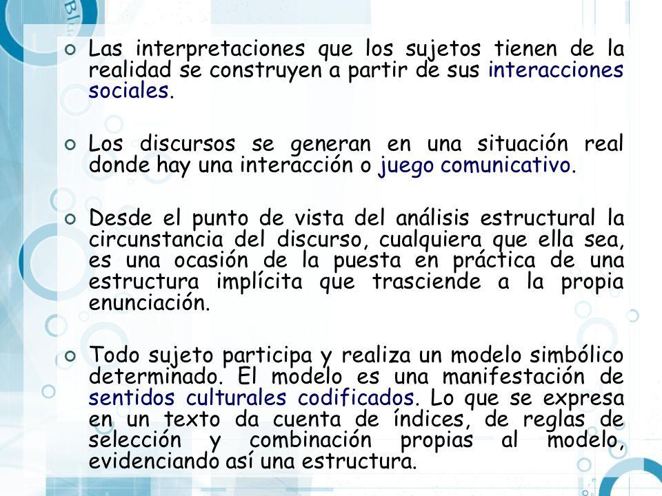 Las interpretaciones que los sujetos tienen de la realidad se construyen a partir de sus interacciones sociales.
