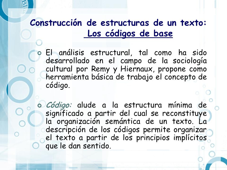 Construcción de estructuras de un texto: Los códigos de base