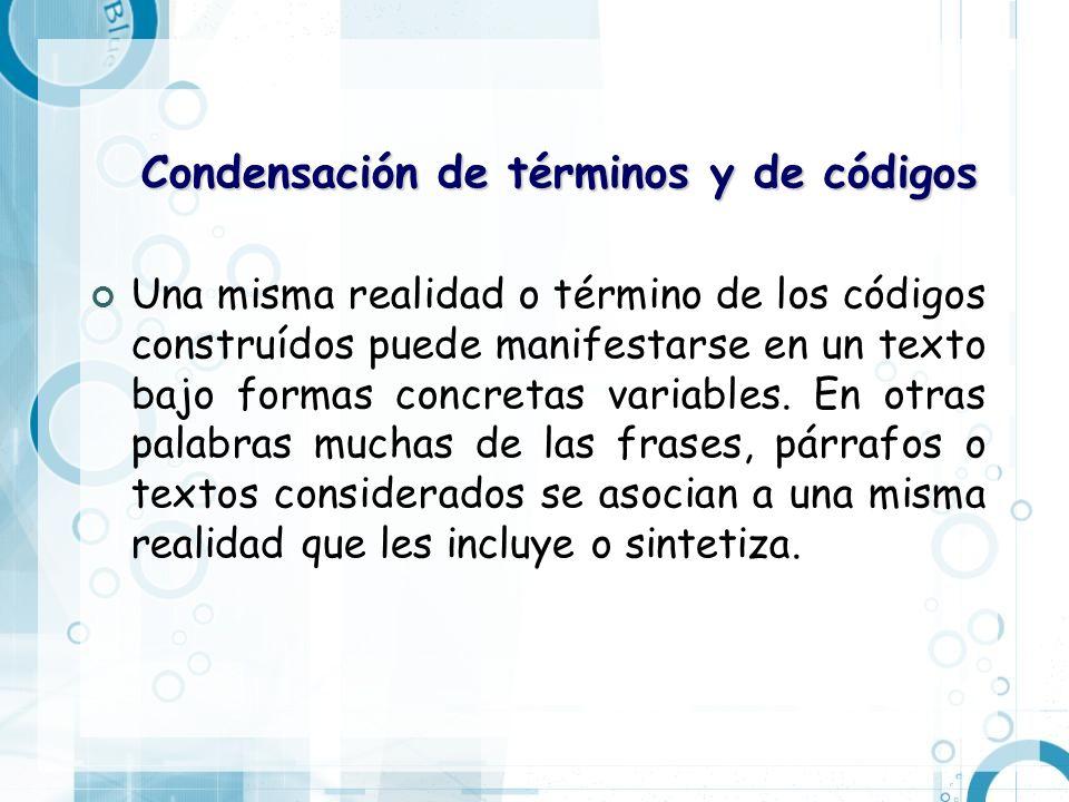 Condensación de términos y de códigos