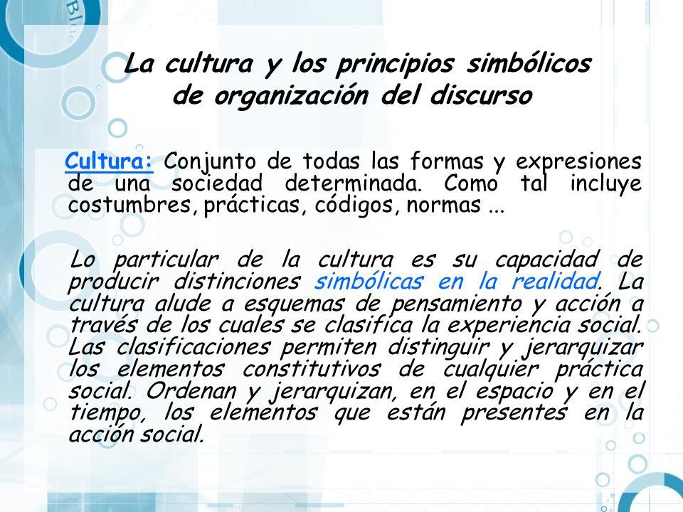 La cultura y los principios simbólicos de organización del discurso