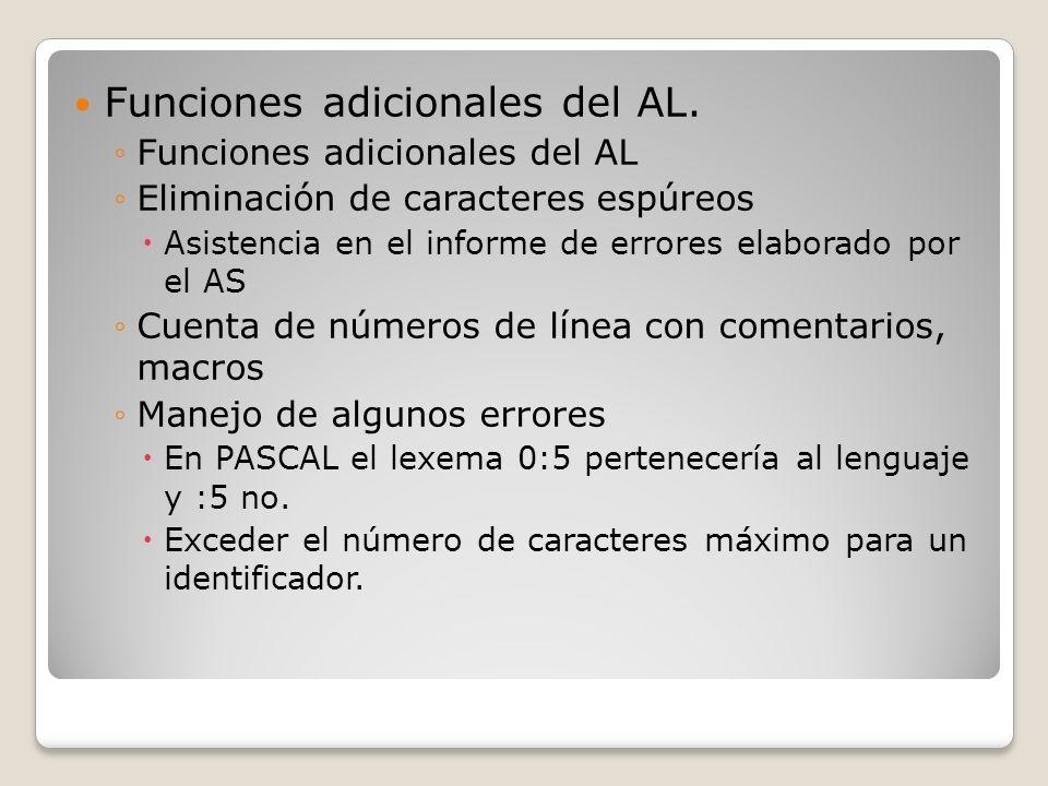 Funciones adicionales del AL.