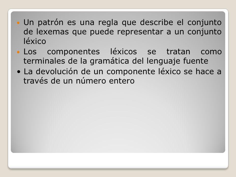 Un patrón es una regla que describe el conjunto de lexemas que puede representar a un conjunto léxico
