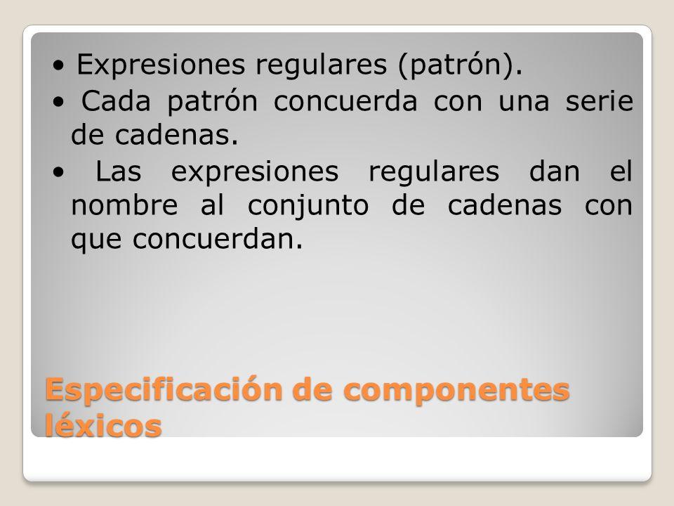 Especificación de componentes léxicos