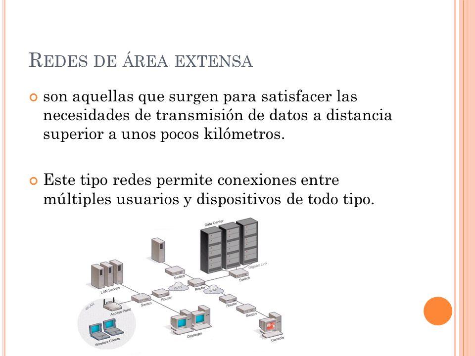 Redes de área extensa son aquellas que surgen para satisfacer las necesidades de transmisión de datos a distancia superior a unos pocos kilómetros.