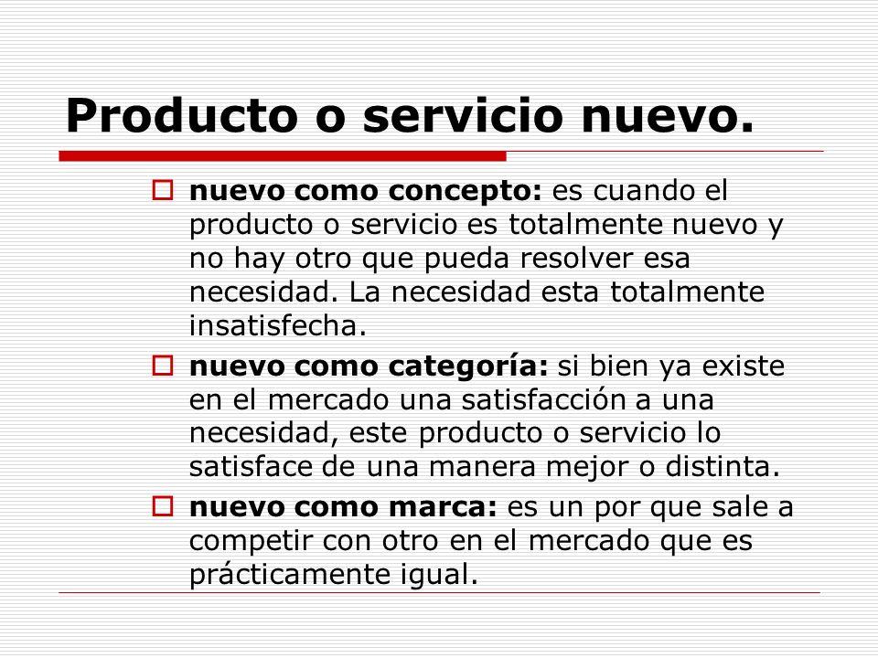Producto o servicio nuevo.