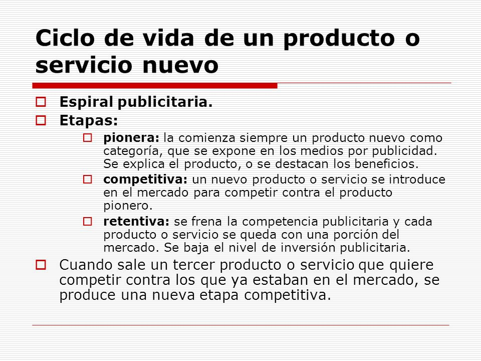 Ciclo de vida de un producto o servicio nuevo