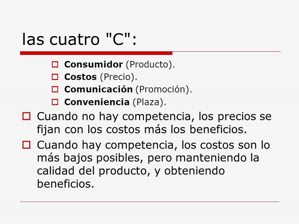 las cuatro C : Consumidor (Producto). Costos (Precio). Comunicación (Promoción). Conveniencia (Plaza).