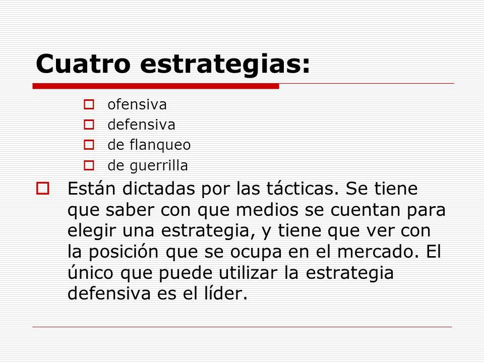 Cuatro estrategias: ofensiva. defensiva. de flanqueo. de guerrilla.