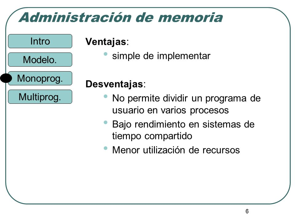 Ventajas: simple de implementar. Desventajas: No permite dividir un programa de usuario en varios procesos.