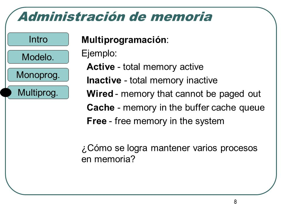 Multiprogramación:Ejemplo: Active - total memory active. Inactive - total memory inactive. Wired - memory that cannot be paged out.