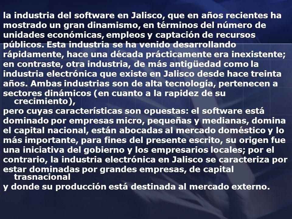 la industria del software en Jalisco, que en años recientes ha