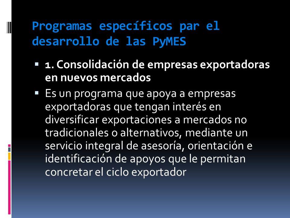 Programas específicos par el desarrollo de las PyMES