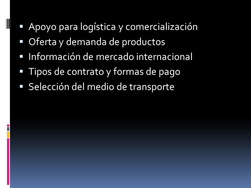 Apoyo para logística y comercialización