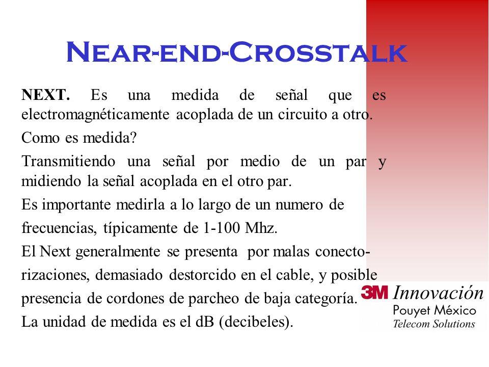 Near-end-Crosstalk NEXT. Es una medida de señal que es electromagnéticamente acoplada de un circuito a otro.