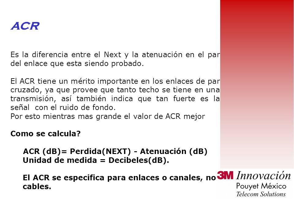 ACR Es la diferencia entre el Next y la atenuación en el par del enlace que esta siendo probado.