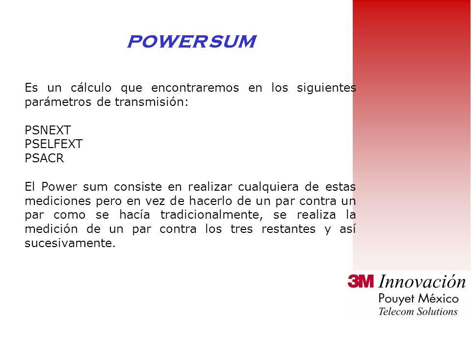 POWER SUM Es un cálculo que encontraremos en los siguientes parámetros de transmisión: PSNEXT. PSELFEXT.