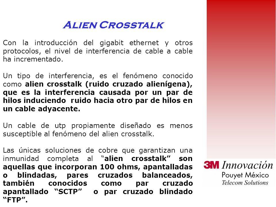 Alien Crosstalk Con la introducción del gigabit ethernet y otros protocolos, el nivel de interferencia de cable a cable ha incrementado.