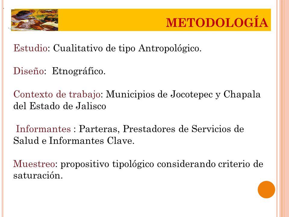 METODOLOGÍA Estudio: Cualitativo de tipo Antropológico.