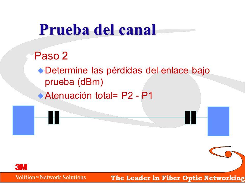 Prueba del canalPaso 2. Determine las pérdidas del enlace bajo prueba (dBm) Atenuación total= P2 - P1.
